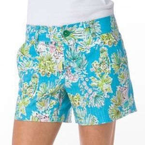 Turquoise Jungle Glam Toile Callahan Shorts